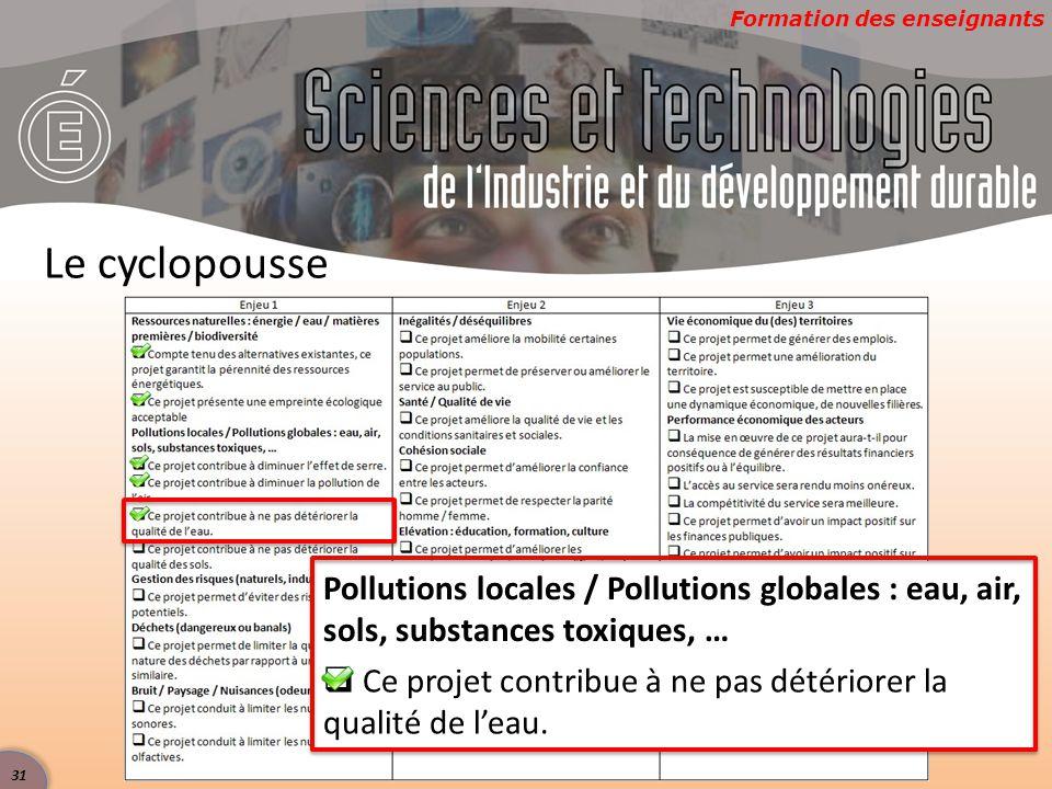 Formation des enseignants Le cyclopousse Pollutions locales / Pollutions globales : eau, air, sols, substances toxiques, …  Ce projet contribue à ne pas détériorer la qualité de l'eau.