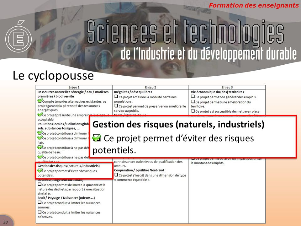 Formation des enseignants Le cyclopousse Gestion des risques (naturels, industriels)  Ce projet permet d'éviter des risques potentiels. 33