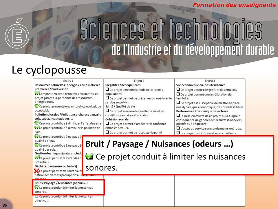Formation des enseignants Le cyclopousse Bruit / Paysage / Nuisances (odeurs …)  Ce projet conduit à limiter les nuisances sonores. 35