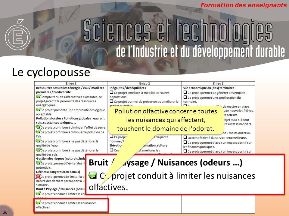 Formation des enseignants Le cyclopousse Bruit / Paysage / Nuisances (odeurs …)  Ce projet conduit à limiter les nuisances olfactives.