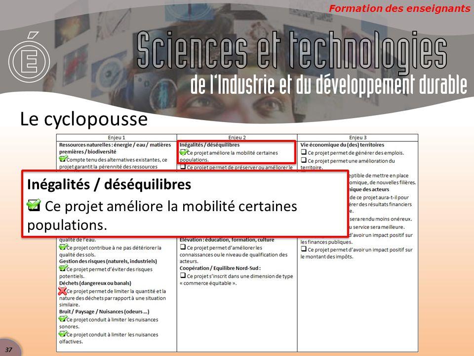Formation des enseignants Le cyclopousse Inégalités / déséquilibres  Ce projet améliore la mobilité certaines populations.