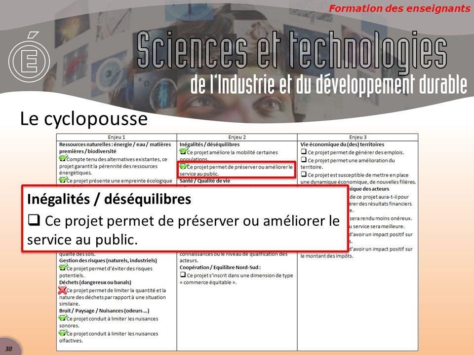 Formation des enseignants Le cyclopousse Inégalités / déséquilibres  Ce projet permet de préserver ou améliorer le service au public.