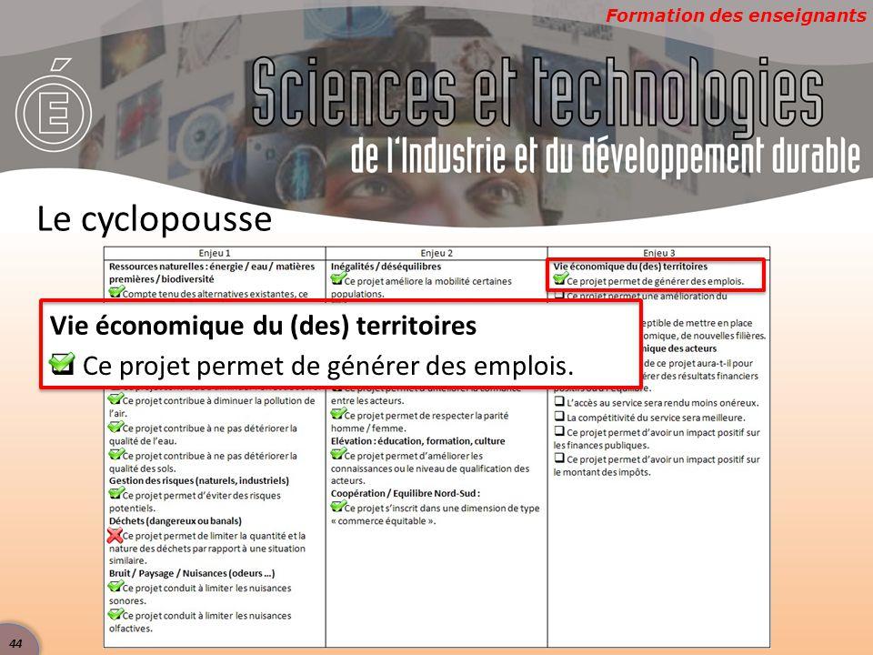 Formation des enseignants Le cyclopousse Vie économique du (des) territoires  Ce projet permet de générer des emplois. 44