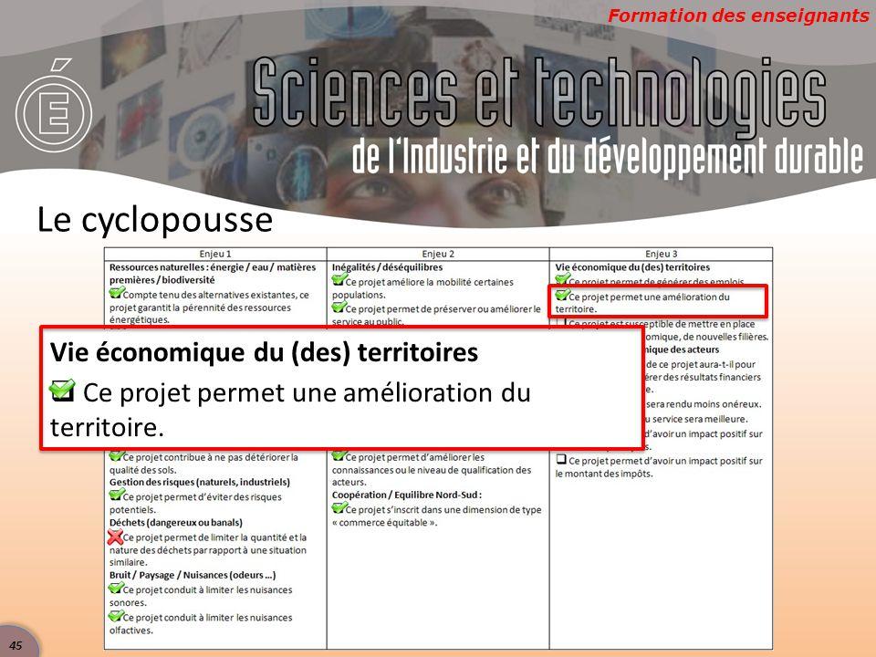 Formation des enseignants Le cyclopousse Vie économique du (des) territoires  Ce projet permet une amélioration du territoire. 45