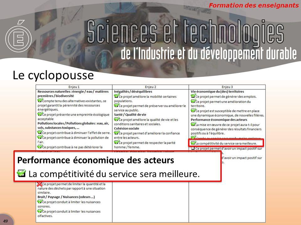 Formation des enseignants Le cyclopousse Performance économique des acteurs  La compétitivité du service sera meilleure. 49