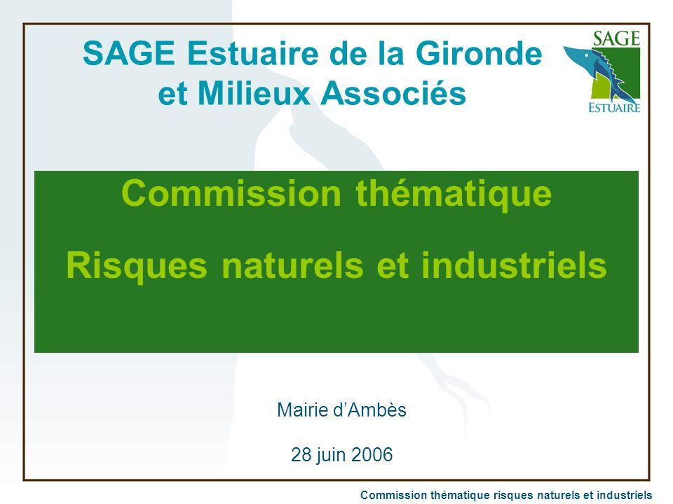 Commission thématique risques naturels et industriels SAGE Estuaire de la Gironde et Milieux Associés Commission thématique Risques naturels et indust