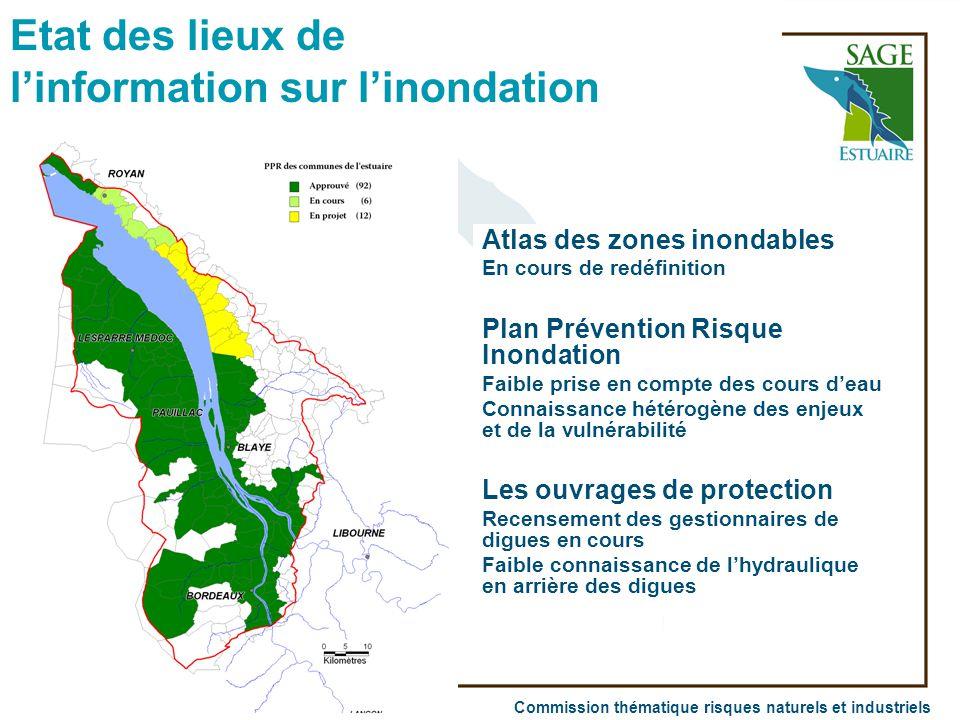 Commission thématique risques naturels et industriels Atlas des zones inondables En cours de redéfinition Plan Prévention Risque Inondation Faible pri