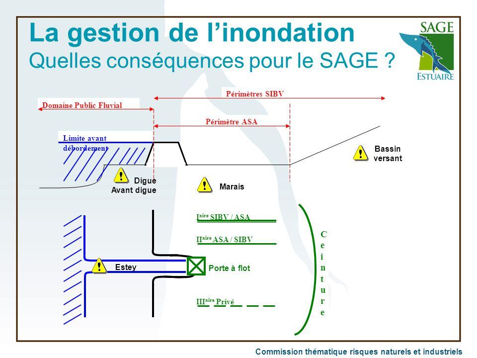 Commission thématique risques naturels et industriels La gestion de l'inondation Quelles conséquences pour le SAGE ? Digue Avant digue Périmètres SIBV