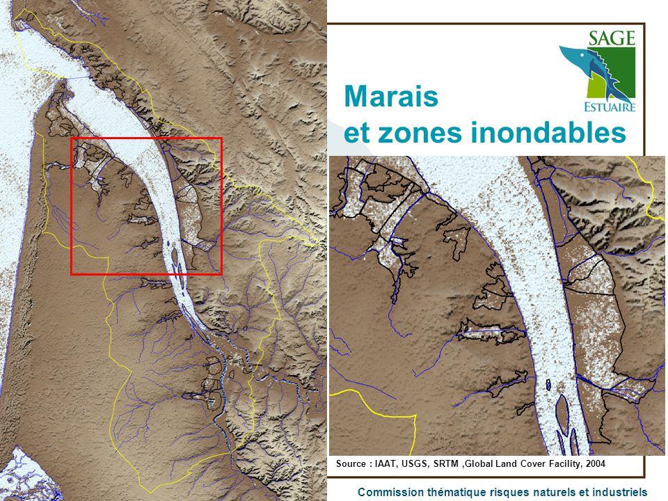 Commission thématique risques naturels et industriels Marais et zones inondables Source : IAAT, USGS, SRTM,Global Land Cover Facility, 2004