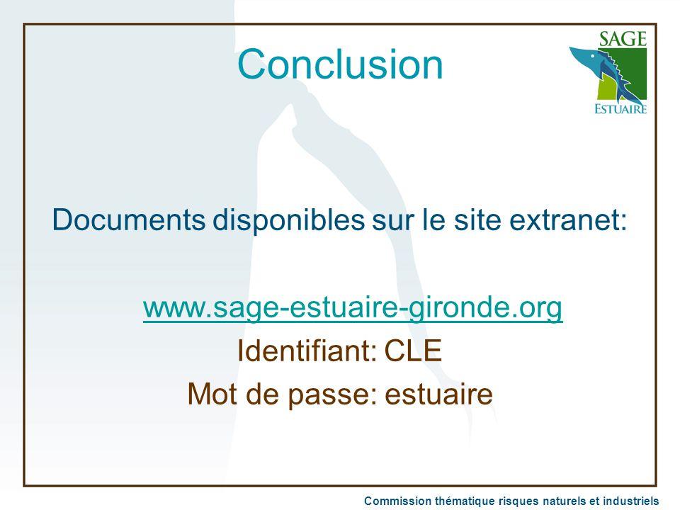 Commission thématique risques naturels et industriels Conclusion Documents disponibles sur le site extranet: www.sage-estuaire-gironde.org Identifiant