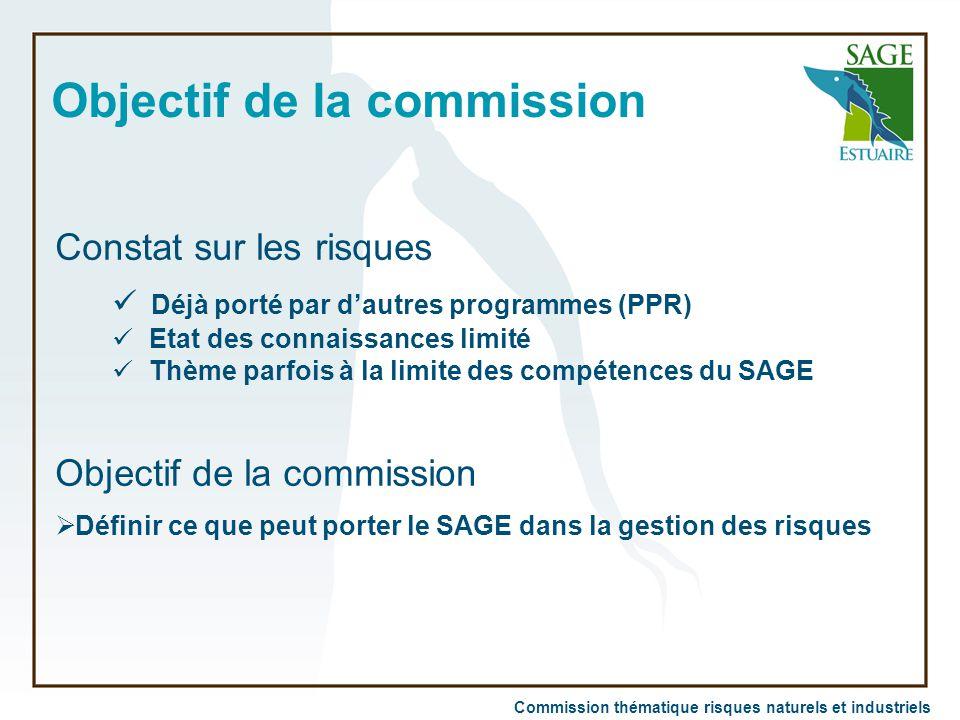 Commission thématique risques naturels et industriels Objectif de la commission Constat sur les risques Déjà porté par d'autres programmes (PPR) Etat