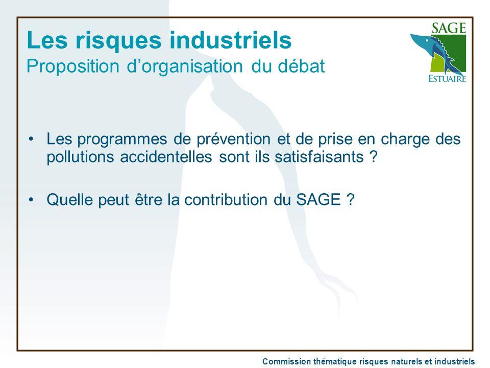 Commission thématique risques naturels et industriels Les risques industriels Proposition d'organisation du débat Les programmes de prévention et de p