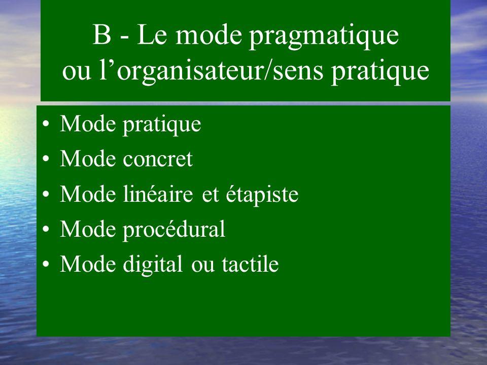 B - Le mode pragmatique Les listes à faire L'organisation La tâche La temporalité Les séquences L'exécution Le pratique et le concret