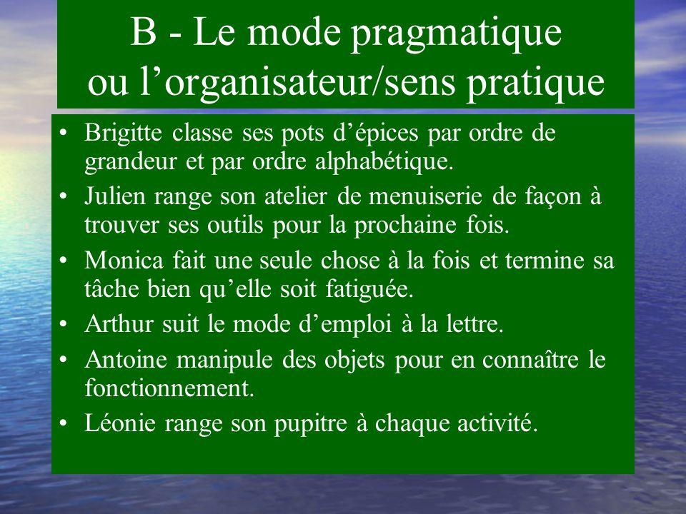 B - Le mode pragmatique ou l'organisateur/sens pratique Mode pratique Mode concret Mode linéaire et étapiste Mode procédural Mode digital ou tactile