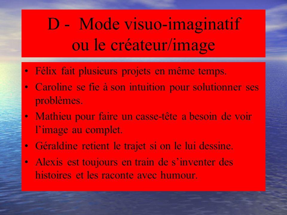 D - Mode visuo-imaginatif ou le créateur/image Mode simultané, non linéaire Mode intuitif Mode visuel et global Mode non verbal/images Mode imaginatif