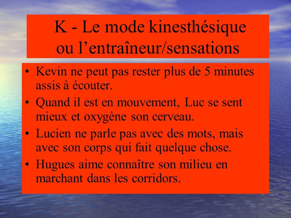 K - Le mode kinesthésique ou l'entraîneur/sensations Mode corporel Mode/mouvement Mode gestuel Mode terrain