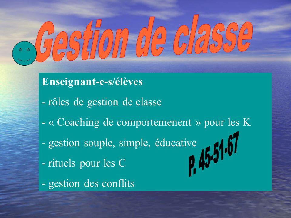Enseignant-e-s/élèves - pour un A : expliquer - pour un D: imaginer - pour un C: apprécier - pour un B : appliquer - pour un K : agir
