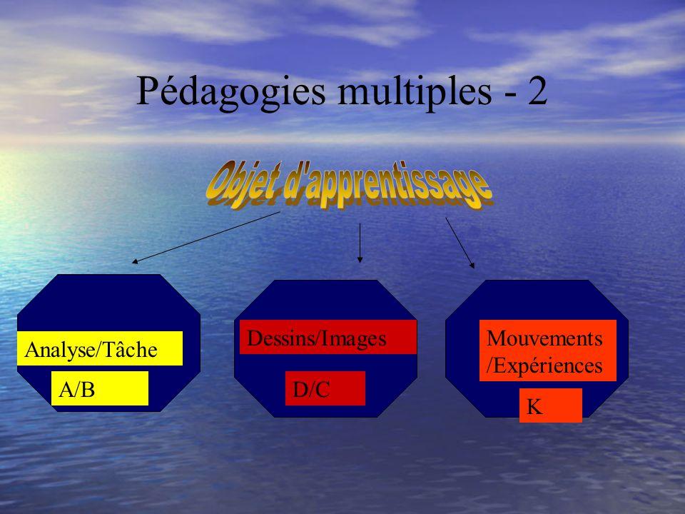 Pédagogies multiples Expliquer Visualiser Dessiner Partager Équipes Faire Construire Bouger Mimer avec le corps A D CB K Faire Construire Partager Équipes Visualiser Dessiner Expliquer