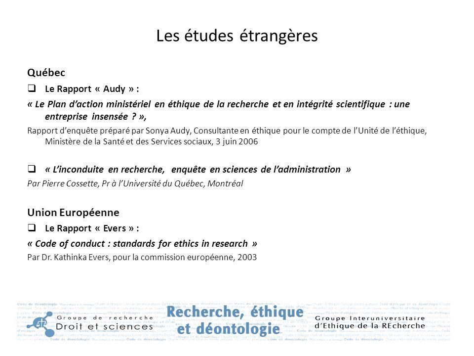 Les études étrangères Québec  Le Rapport « Audy » : « Le Plan d'action ministériel en éthique de la recherche et en intégrité scientifique : une entr