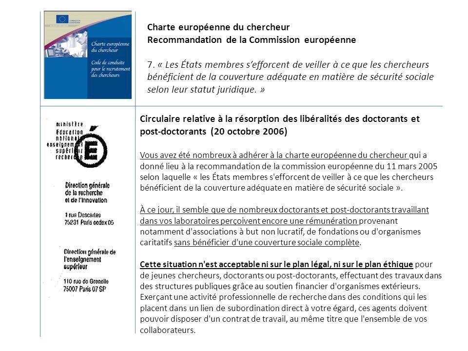 Circulaire relative à la résorption des libéralités des doctorants et post-doctorants (20 octobre 2006) Vous avez été nombreux à adhérer à la charte e