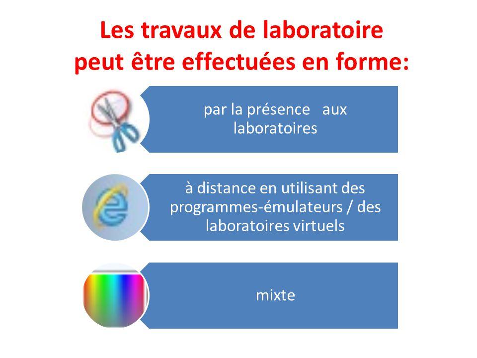 Les travaux de laboratoire peut être effectuées en forme: par la présence aux laboratoires à distance en utilisant des programmes-émulateurs / des laboratoires virtuels mixte