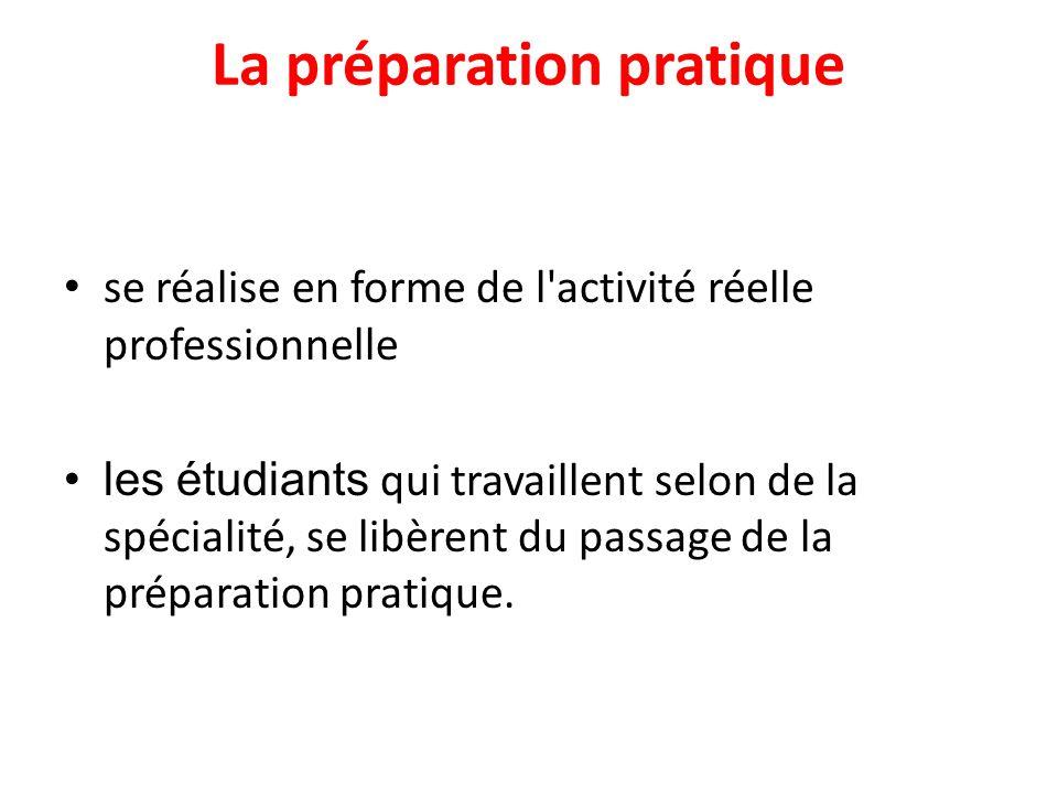 La préparation pratique se réalise en forme de l activité réelle professionnelle les étudiants qui travaillent selon de la spécialité, se libèrent du passage de la préparation pratique.