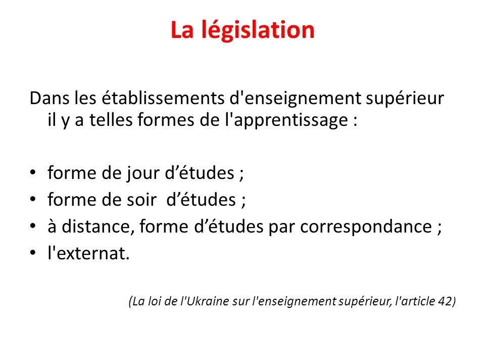 La législation Dans les établissements d enseignement supérieur il y a telles formes de l apprentissage : forme de jour d'études ; forme de soir d'études ; à distance, forme d'études par correspondance ; l externat.