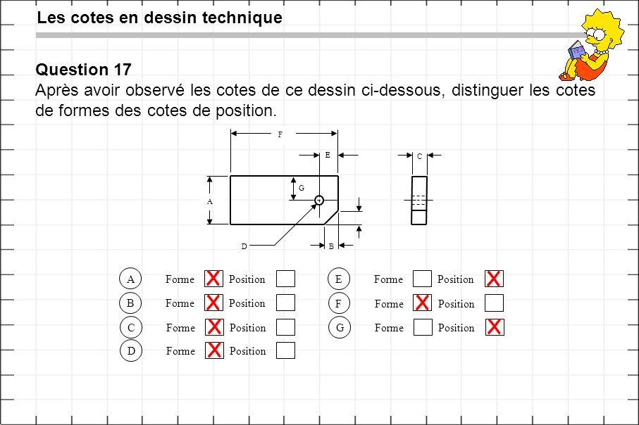 Les cotes en dessin technique Question 17 Après avoir observé les cotes de ce dessin ci-dessous, distinguer les cotes de formes des cotes de position.