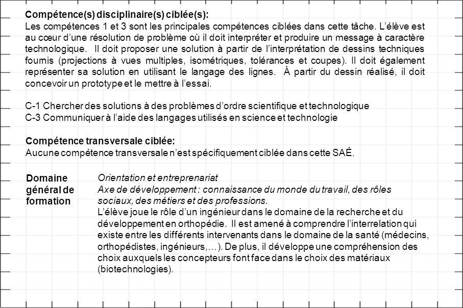 Compétence(s) disciplinaire(s) ciblée(s): Les compétences 1 et 3 sont les principales compétences ciblées dans cette tâche. L'élève est au cœur d'une