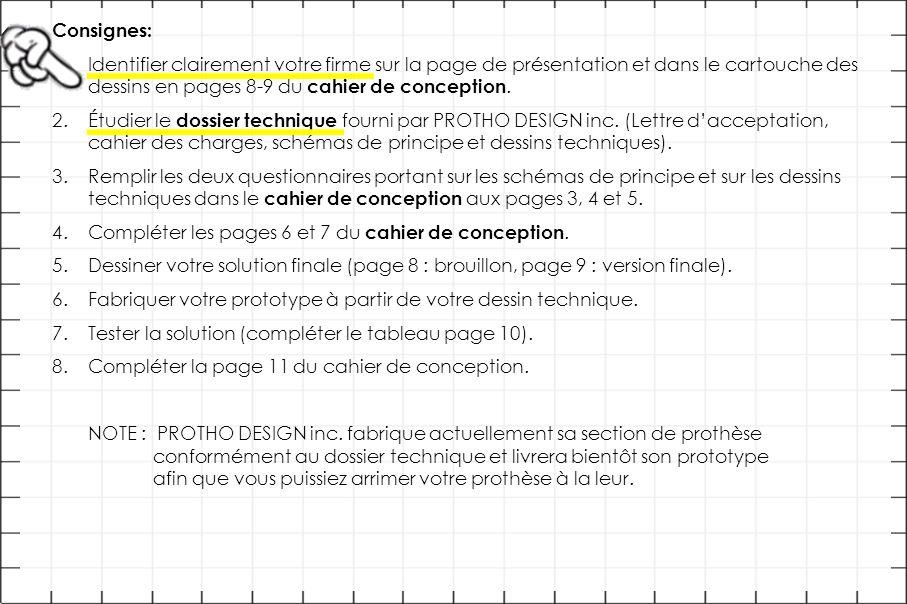 Consignes: 1.Identifier clairement votre firme sur la page de présentation et dans le cartouche des dessins en pages 8-9 du cahier de conception. 2.Ét