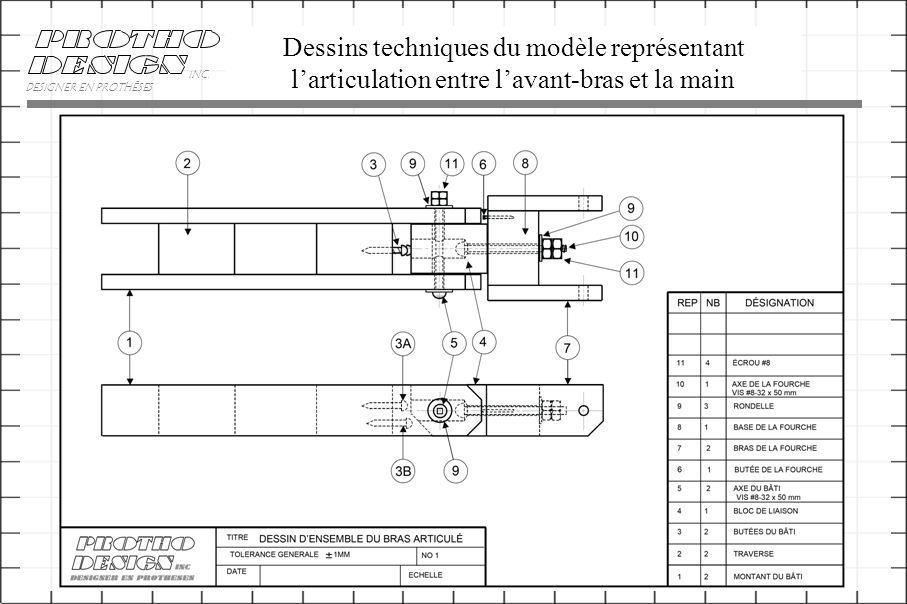 Dessins techniques du modèle représentant l'articulation entre l'avant-bras et la main DESIGNER EN PROTHÈSES INC.