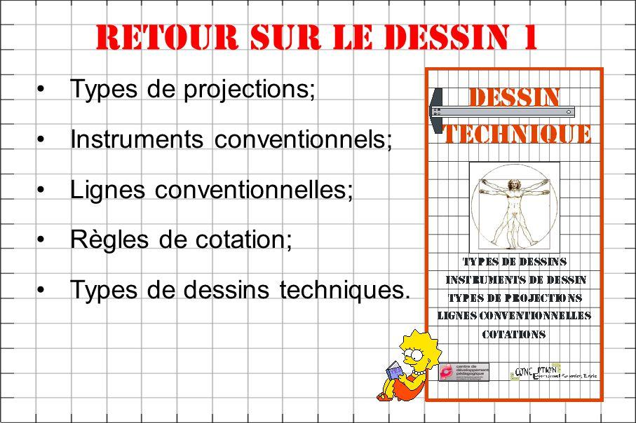 Retour sur le dessin 1 Types de projections; Instruments conventionnels; Lignes conventionnelles; Règles de cotation; Types de dessins techniques.