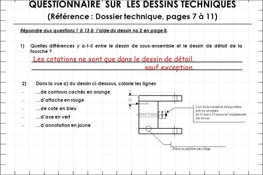 QUESTIONNAIRE SUR LES DESSINS TECHNIQUES (Référence : Dossier technique, pages 7 à 11) Répondre aux questions 1 à 13 à l'aide du dessin no 2 en page 8