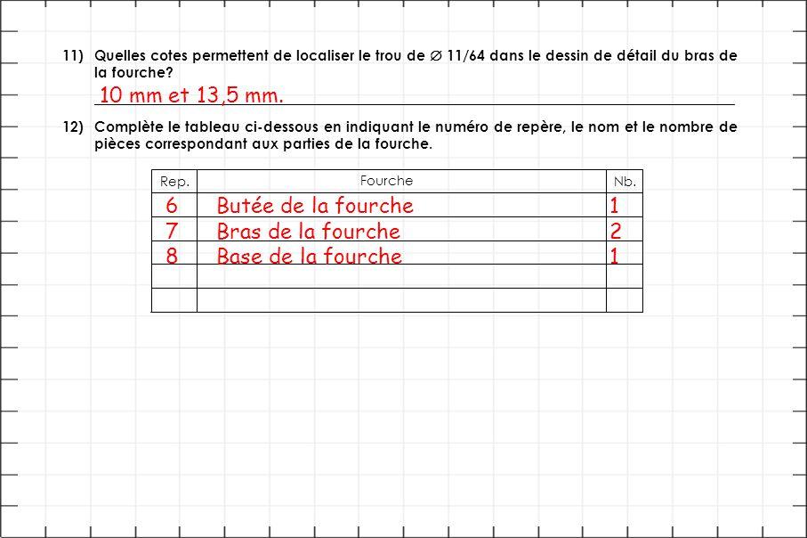 11)Quelles cotes permettent de localiser le trou de  11/64 dans le dessin de détail du bras de la fourche? __________________________________________