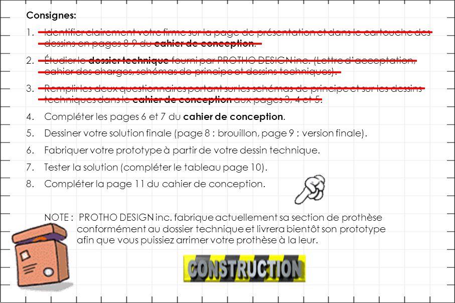 Consignes: 1.Identifier clairement votre firme sur la page de présentation et dans le cartouche des dessins en pages 8-9 du cahier de conception.