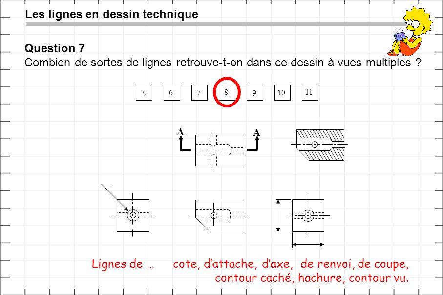 Question 7 Combien de sortes de lignes retrouve-t-on dans ce dessin à vues multiples ? Les lignes en dessin technique 5 6 7 8 9 10 11 A A Lignes de …c