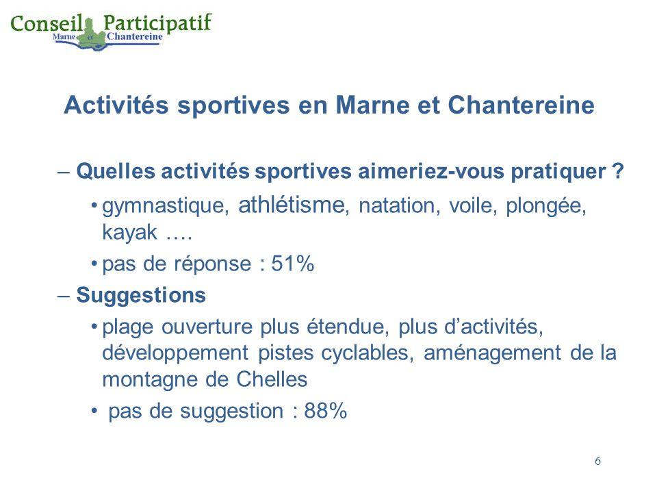7 Activités sportives en Marne et Chantereine Conclusions –78% des personnes interrogées pratiquent au moins une activité sportive –Pour les autres, le motif principal est le manque de temps (50%), le défaut d'équipement n'est avancé que par 3% des « non sportifs » –Pratiquement pas de suggestions ni d'attentes –Tout serait-il pour le mieux sur le territoire .