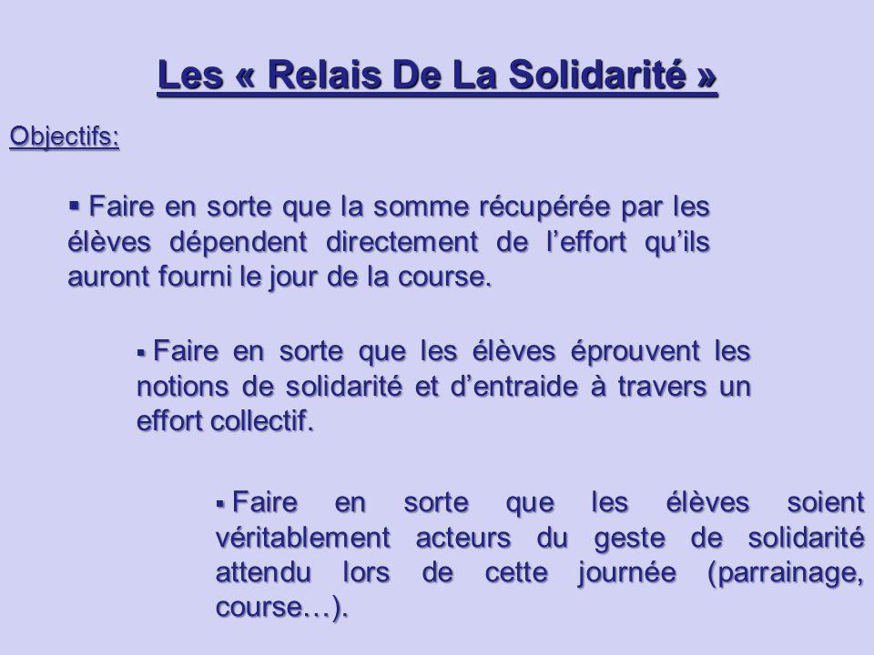 Les « Relais De La Solidarité » Objectifs:  Faire en sorte que la somme récupérée par les élèves dépendent directement de l'effort qu'ils auront fourni le jour de la course.