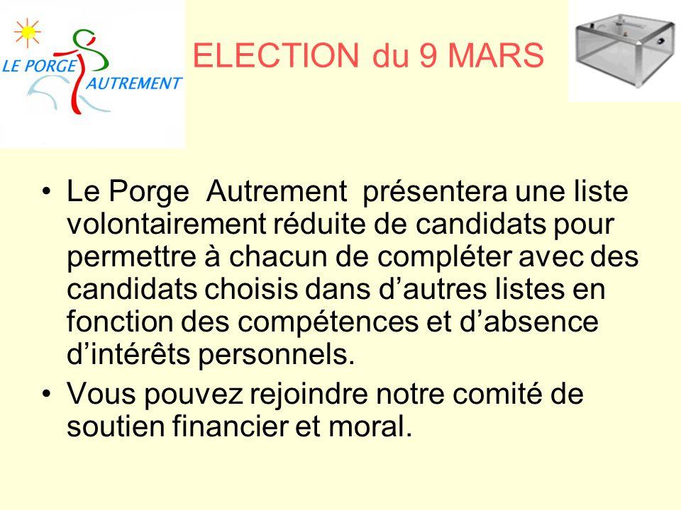 et ELECTION du 9 MARS Le Porge Autrement présentera une liste volontairement réduite de candidats pour permettre à chacun de compléter avec des candid