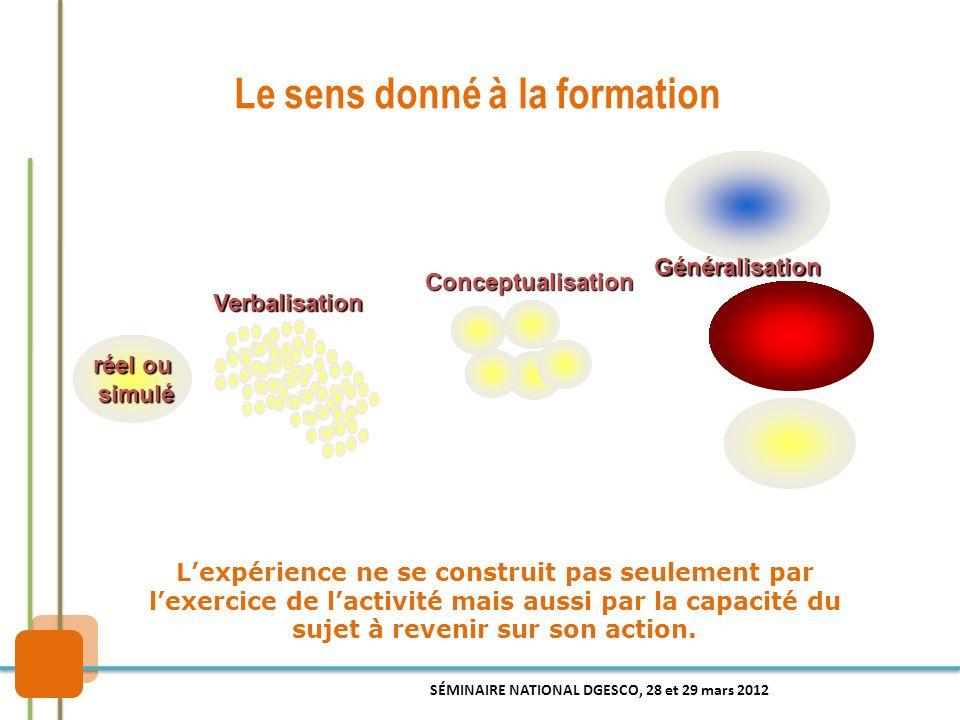 L'expérience ne se construit pas seulement par l'exercice de l'activité mais aussi par la capacité du sujet à revenir sur son action. réel ou simulé s