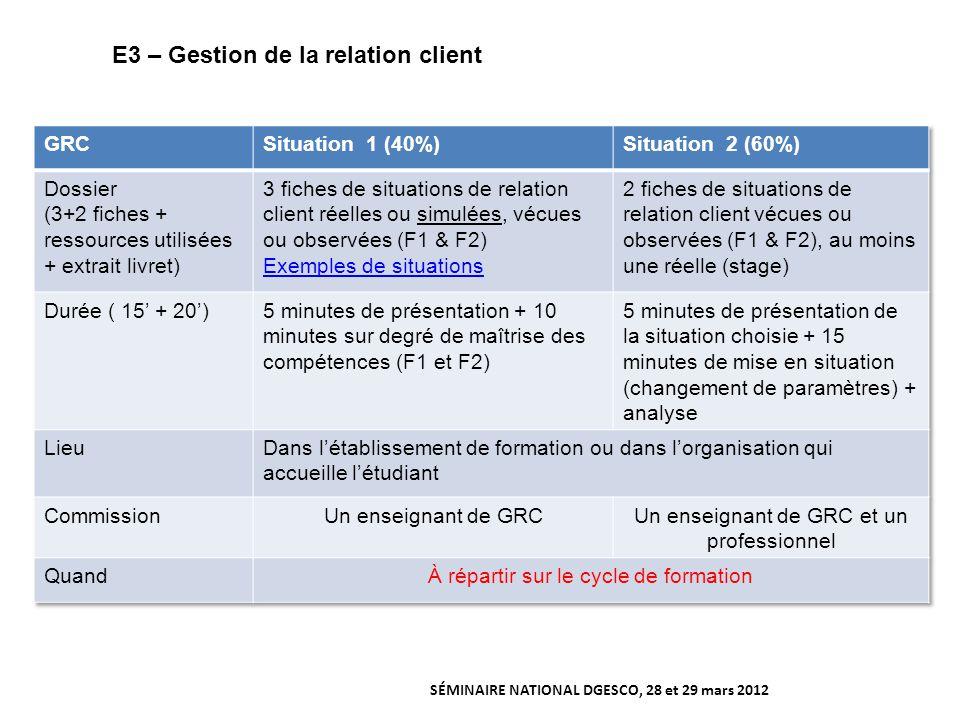 E3 – Gestion de la relation client SÉMINAIRE NATIONAL DGESCO, 28 et 29 mars 2012
