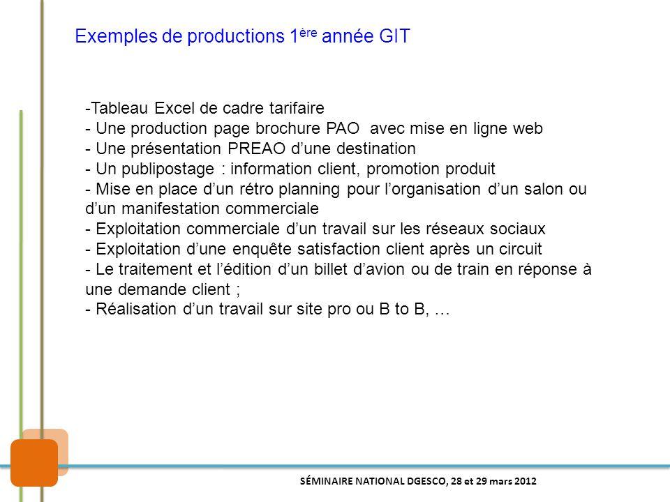 Exemples de productions 1 ère année GIT -Tableau Excel de cadre tarifaire - Une production page brochure PAO avec mise en ligne web - Une présentation