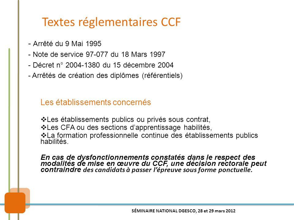 Textes réglementaires CCF - Arrêté du 9 Mai 1995 - Note de service 97-077 du 18 Mars 1997 - Décret n° 2004-1380 du 15 décembre 2004 - Arrêtés de créat