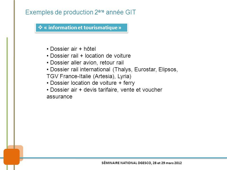 Exemples de production 2 ère année GIT  « information et tourismatique » Dossier air + hôtel Dossier rail + location de voiture Dossier aller avion,