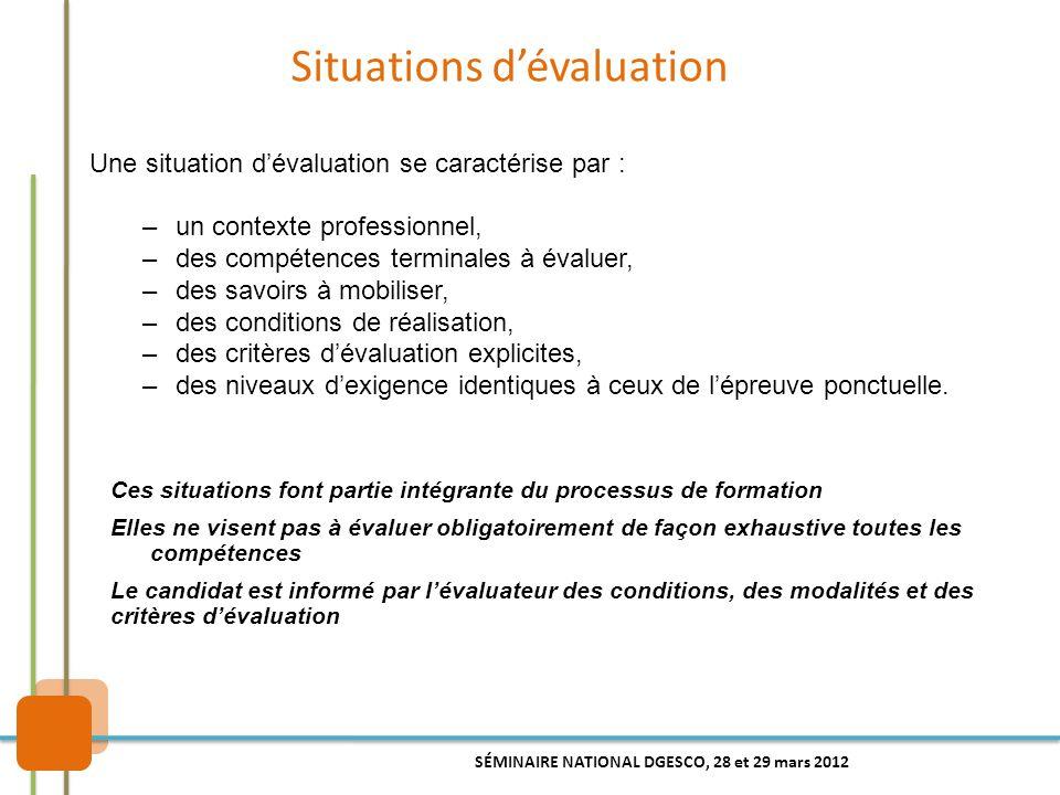 Situations d'évaluation Une situation d'évaluation se caractérise par : –un contexte professionnel, –des compétences terminales à évaluer, –des savoir