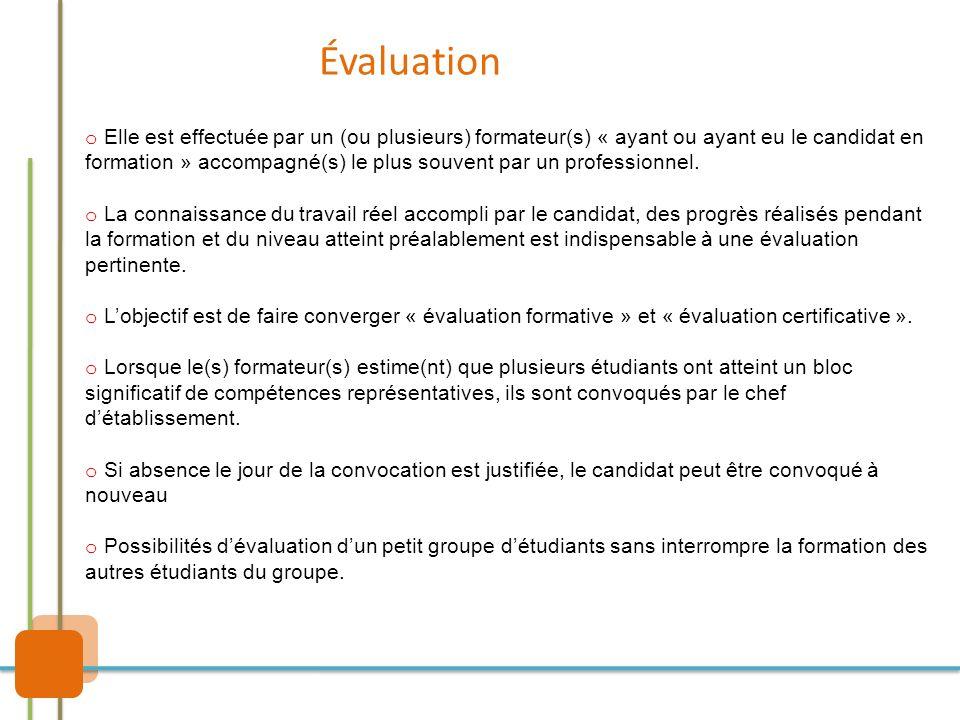 Évaluation o Elle est effectuée par un (ou plusieurs) formateur(s) « ayant ou ayant eu le candidat en formation » accompagné(s) le plus souvent par un
