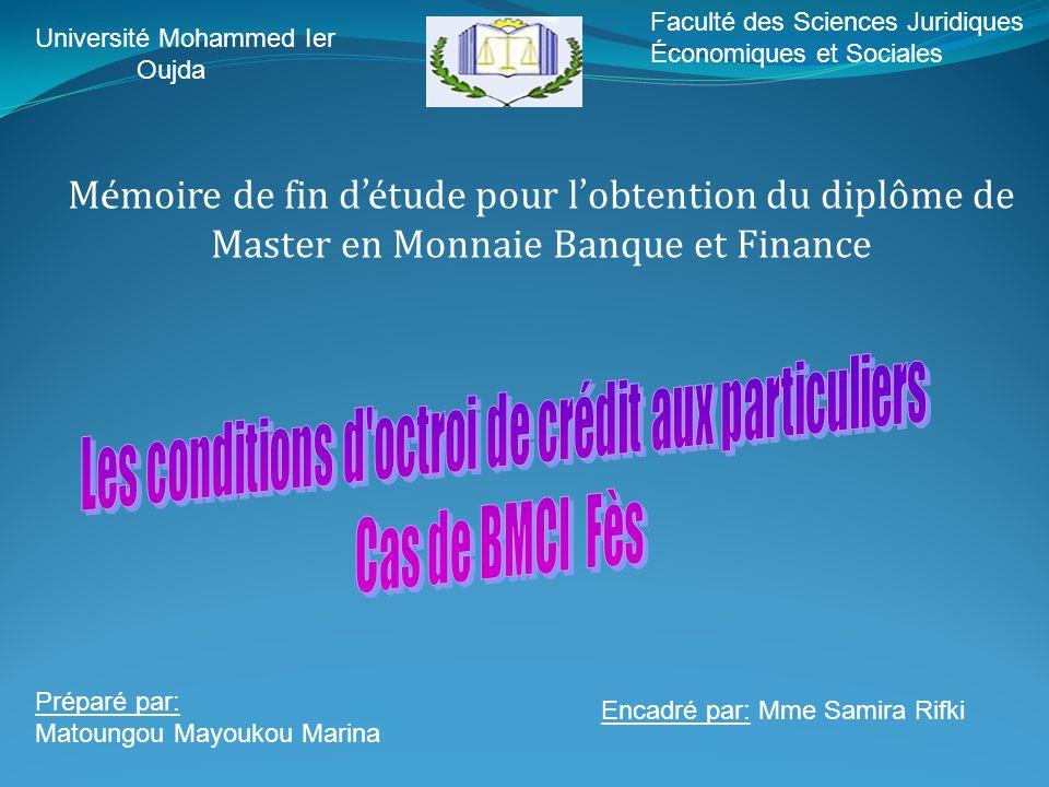 Université Mohammed Ier Oujda Faculté des Sciences Juridiques Économiques et Sociales M é moire de fin d 'é tude pour l ' obtention du diplôme de Mast