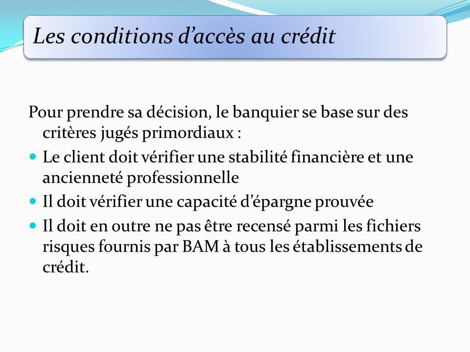 Les conditions d'accès au crédit Pour prendre sa décision, le banquier se base sur des critères jugés primordiaux : Le client doit vérifier une stabilité financière et une ancienneté professionnelle Il doit vérifier une capacité d'épargne prouvée Il doit en outre ne pas être recensé parmi les fichiers risques fournis par BAM à tous les établissements de crédit.