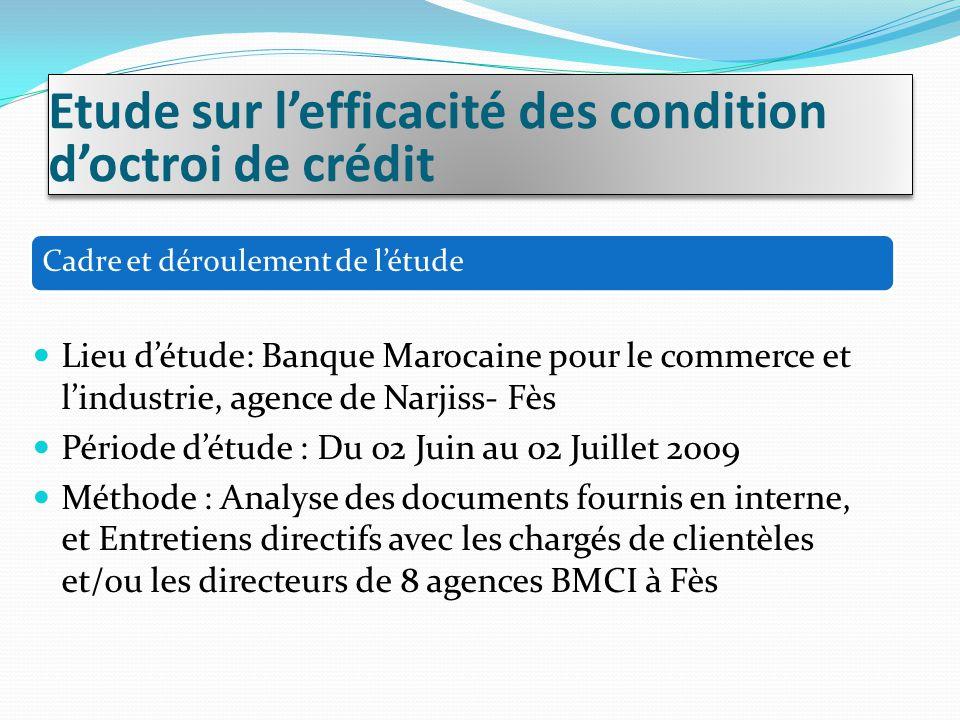 Cadre et déroulement de l'étude Lieu d'étude: Banque Marocaine pour le commerce et l'industrie, agence de Narjiss- Fès Période d'étude : Du 02 Juin au