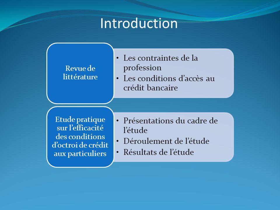 Les contraintes de la profession Les conditions d'accès au crédit bancaire Revue de littérature Présentations du cadre de l'étude Déroulement de l'étu